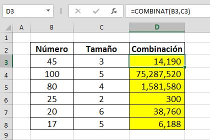 Ejemplo Funci%c3%b3n COMBINAT en Excel - Función COMBINAT en Excel