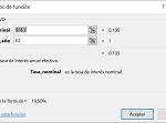 Ejemplo Funcíón INT.EFECTIVO en Excel