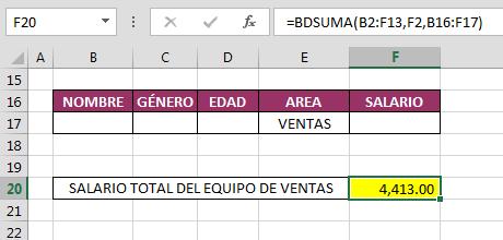 Funci%c3%b3n BDSUMA en Excel - Función BDSUMA en Excel