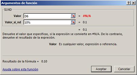 Funci%c3%b3n SI.ND en Excel - Función SI.ND en Excel