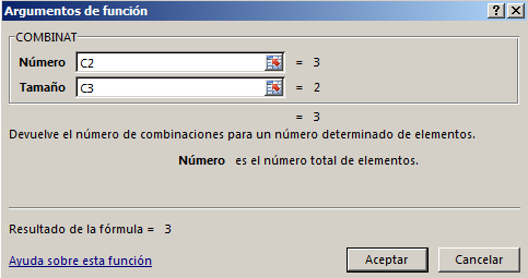 Sintaxis Funci%c3%b3n COMBINAT en Excel - Función COMBINAT en Excel