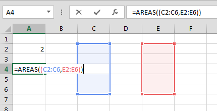 Funci%c3%b3n Areas en Excel Ejemplo2 - Función AREAS en Excel