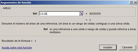 Funci%c3%b3n Areas en Excel Sintaxis - Función AREAS en Excel