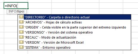Funci%c3%b3n INFO en Excel - Función INFO en Excel
