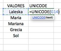 Ejemplo Funci%c3%b3n UNICODE en Excel - Función UNICODE en Excel