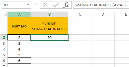 Funci%c3%b3n SUMA.CUADRADOS 2 - Función SUMA.CUADRADOS en Excel