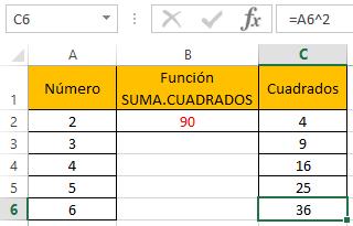 Funci%c3%b3n SUMA.CUADRADOS 3 - Función SUMA.CUADRADOS en Excel