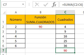 Funci%c3%b3n SUMA.CUADRADOS 4 - Función SUMA.CUADRADOS en Excel