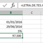 Ejemplo Función LETRA.DE.TES.PRECIO en Excel