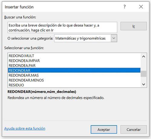 Función Redondear en Excel