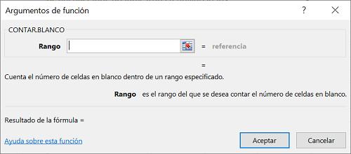 Función Contar.blanco en Excel