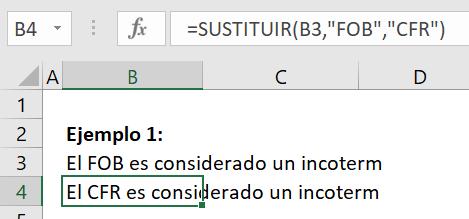 Ejemplo 1 Función Sustituir en Excel
