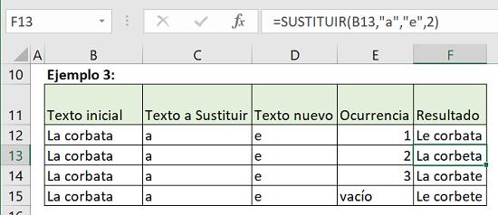 Ejemplo 3 Función Sustituir en Excel
