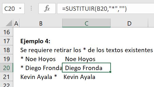 Ejemplo 4 Función Sustituir en Excel