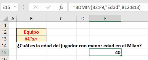 Ejercicio propuesto 1 Función BDMIN