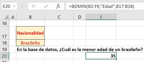Ejercicio propuesto 2 Función BDMIN