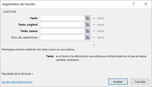 Función SUSTITUIR en Excel